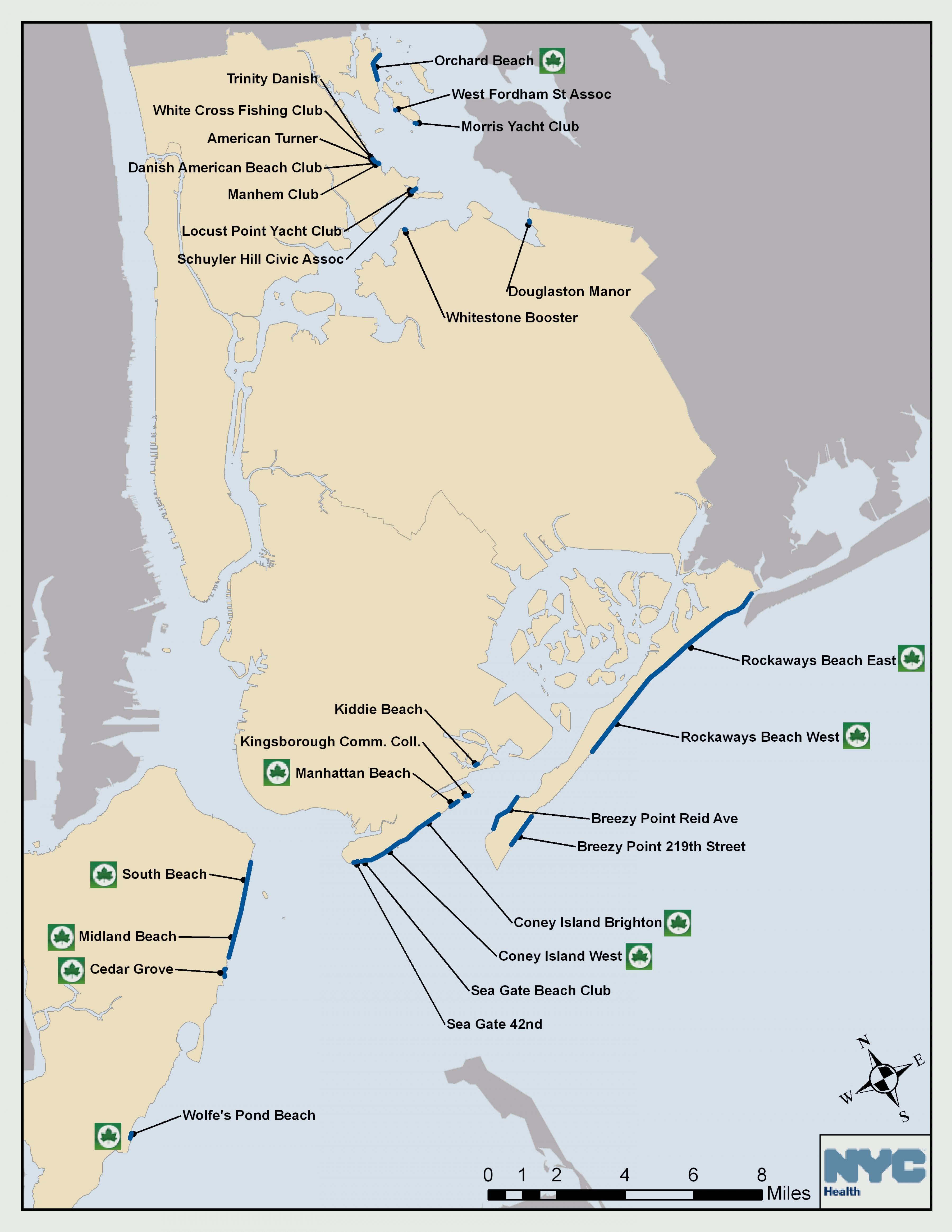 New York beach map NYC beach map New York USA