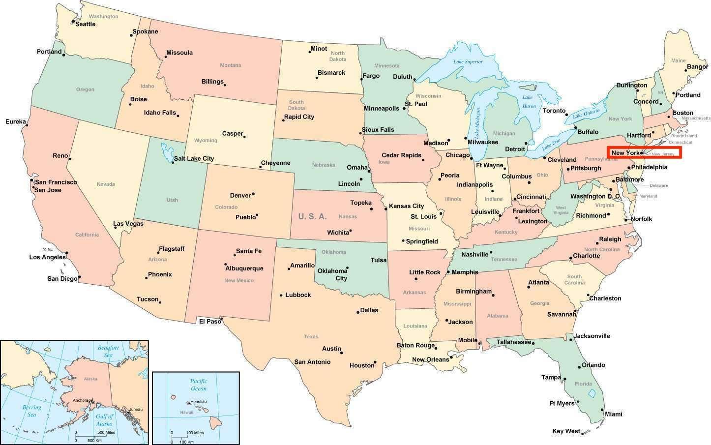 New York City On Map Of Usa.New York City On Map City Map New York New York Usa