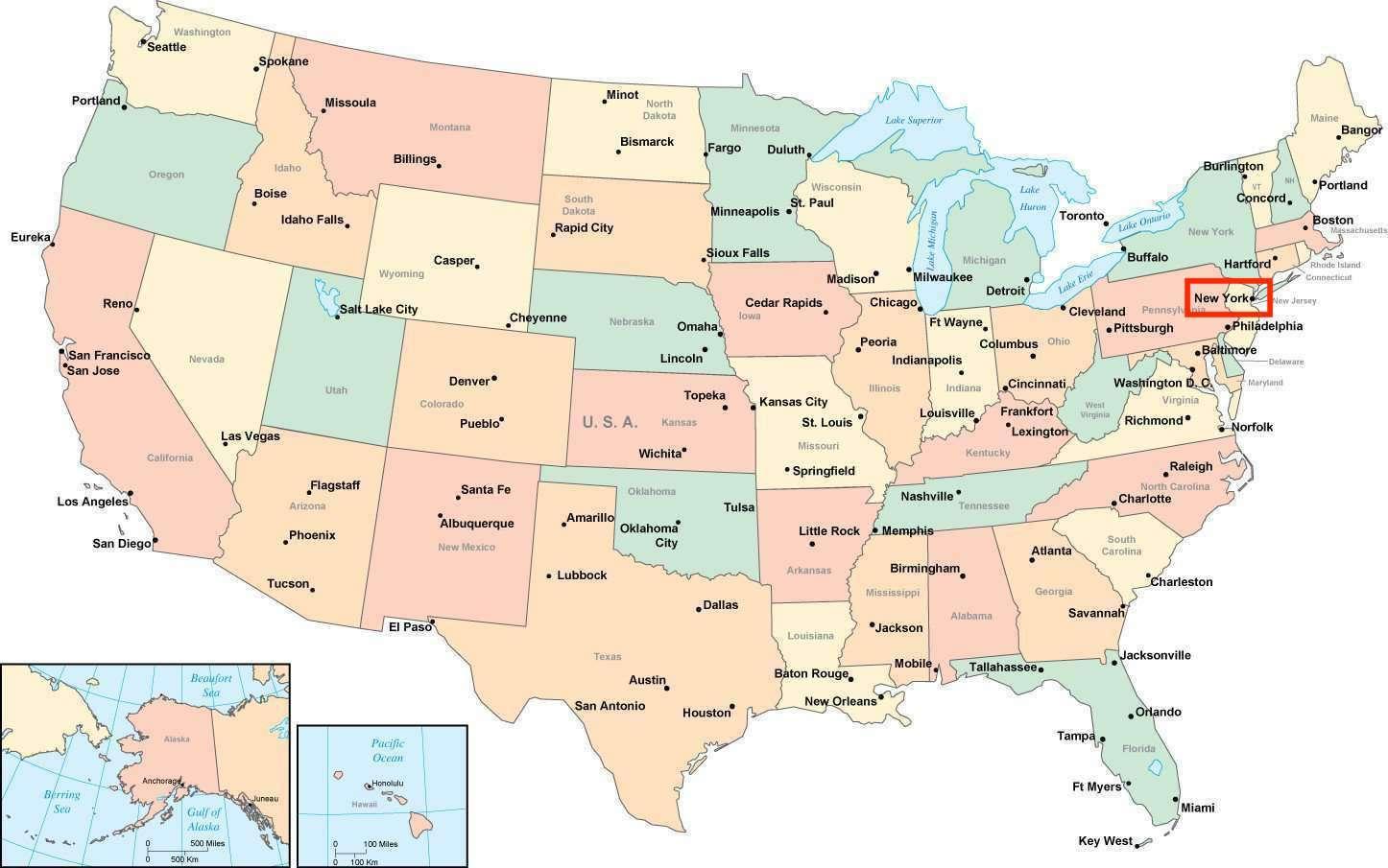 New York Map Usa - New York On Usa Map  New York