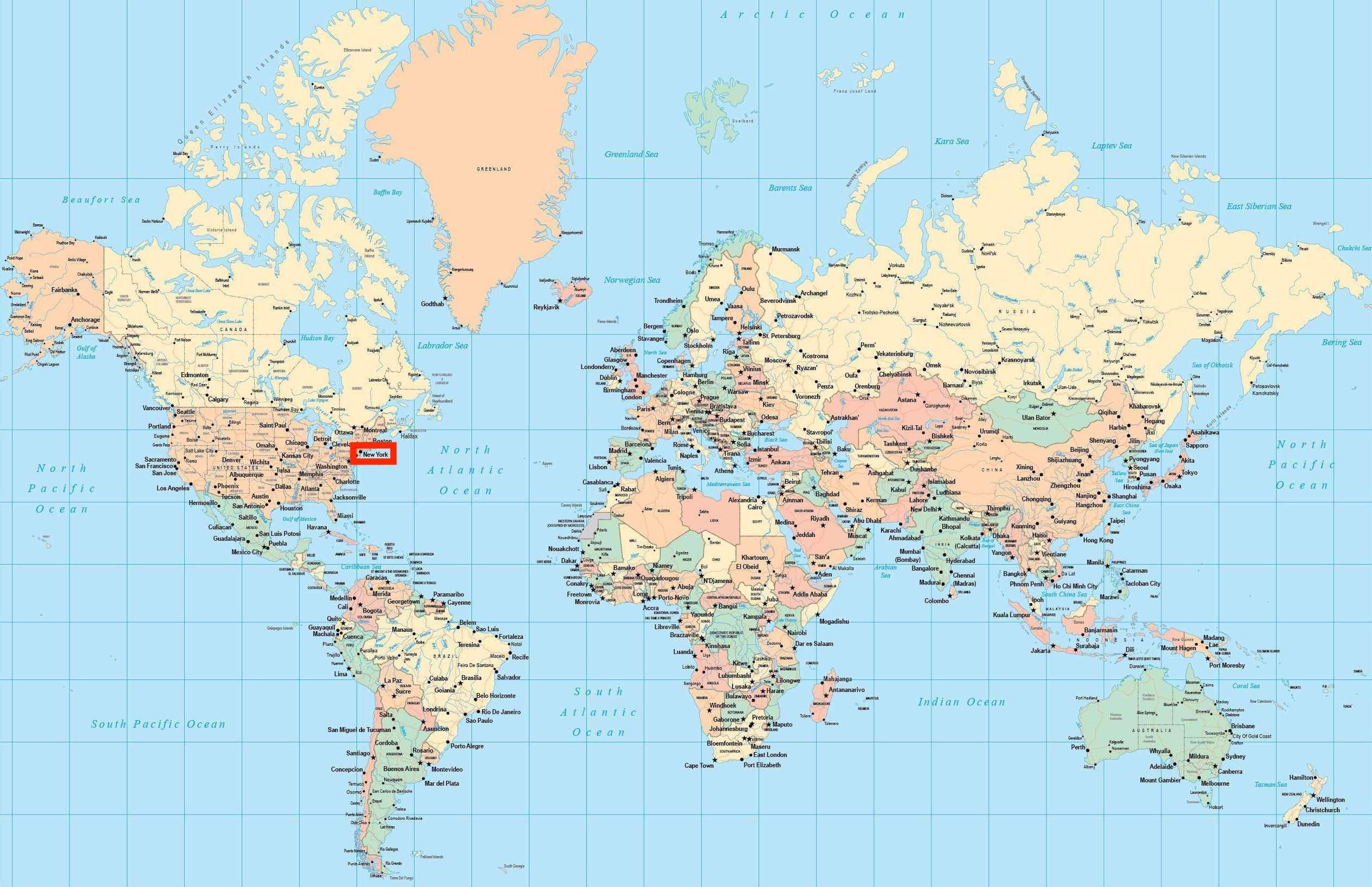 New York On World Map World Map Showing New York New York Usa