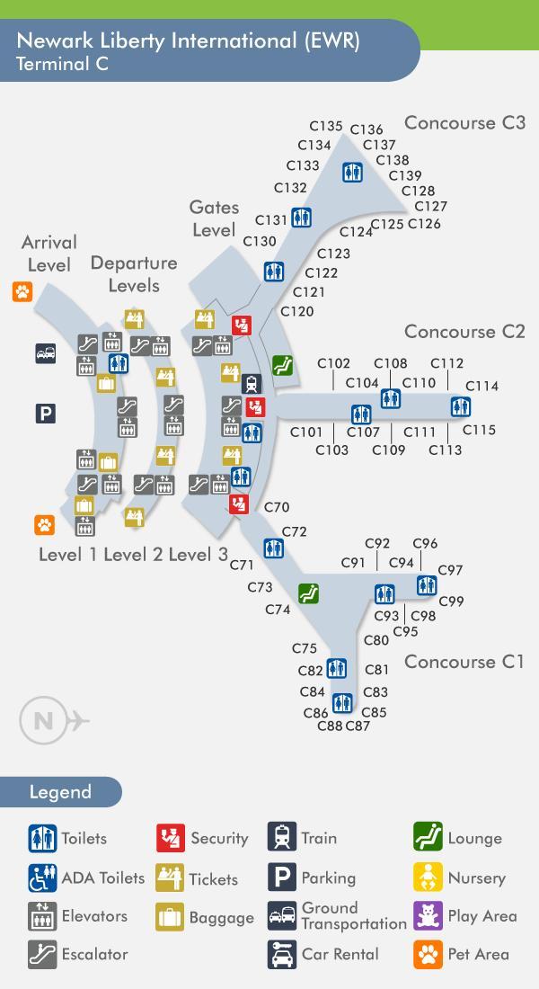 Newark Terminal C Map Newark terminal c map   Map of Newark terminal c (New York   USA)