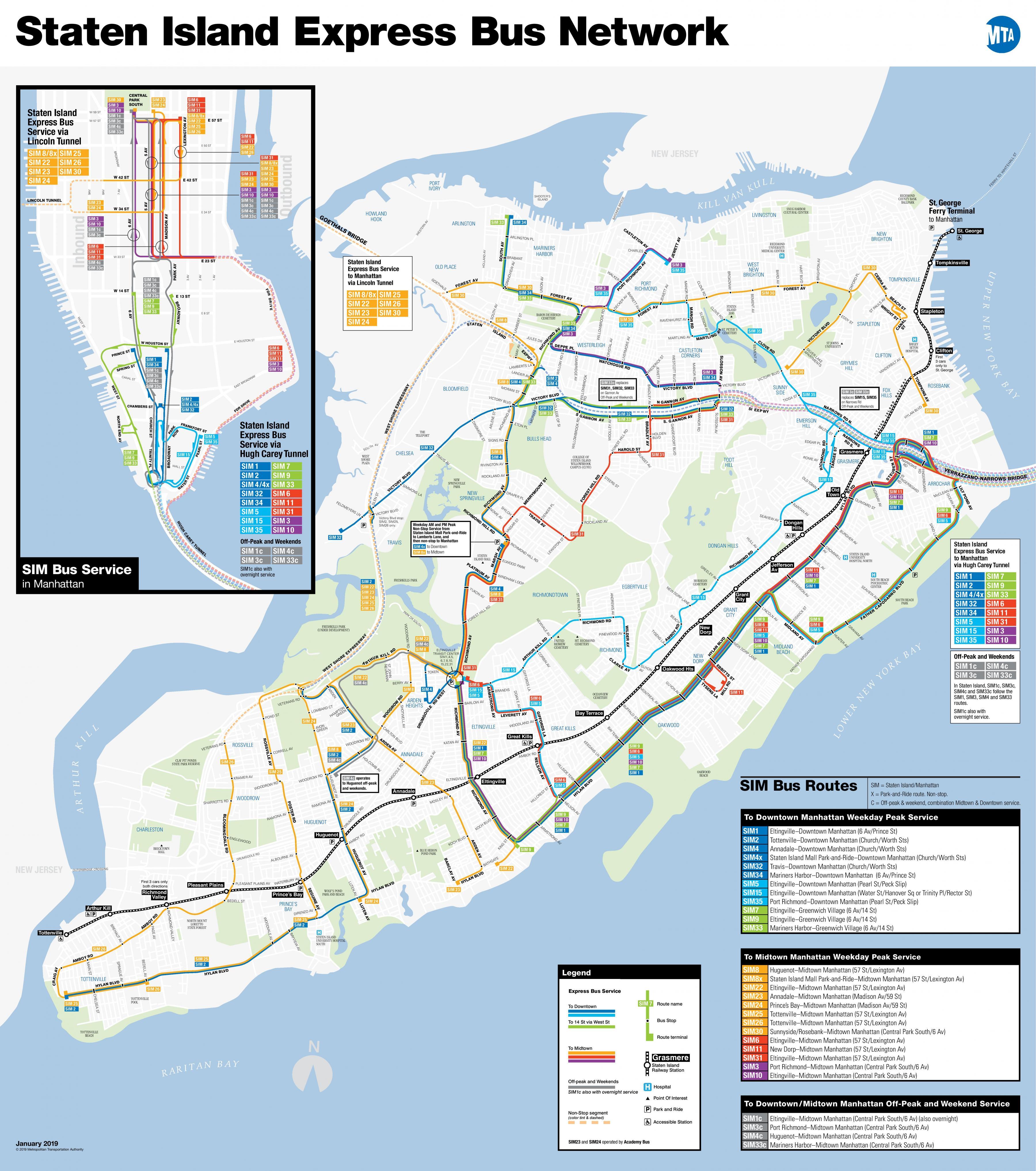 NYC express bus map MTA express bus map New York USA