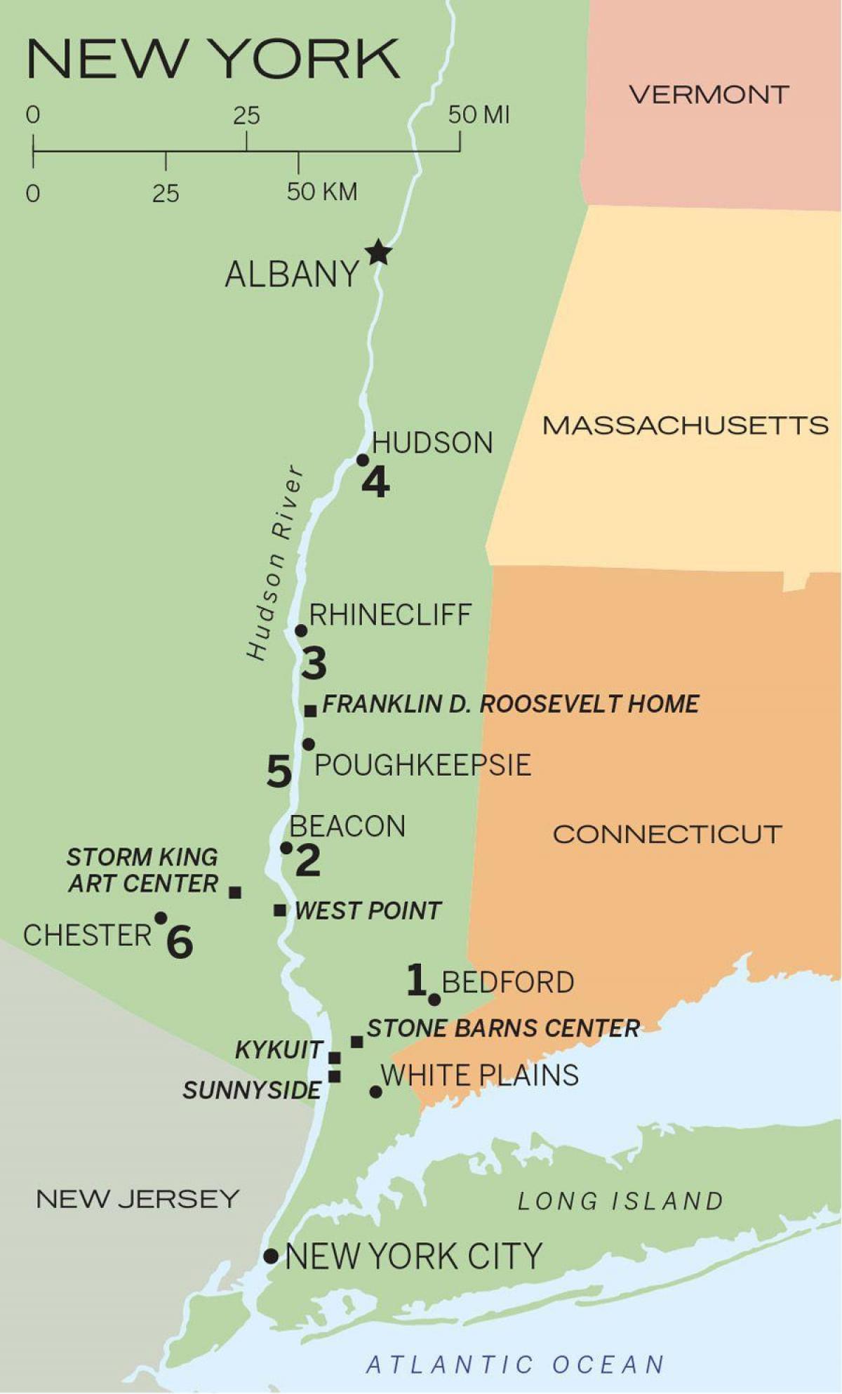 Hudson river New York map Hudson river map NYC New York USA