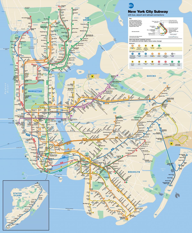 New York metro map MTA metro map New York USA