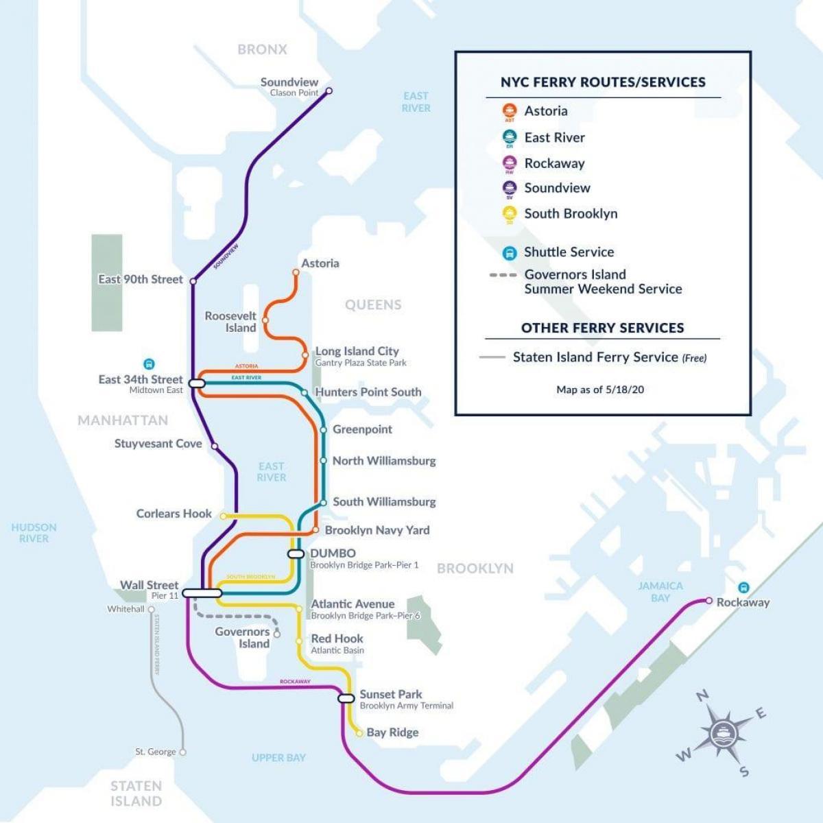 new york ferry map