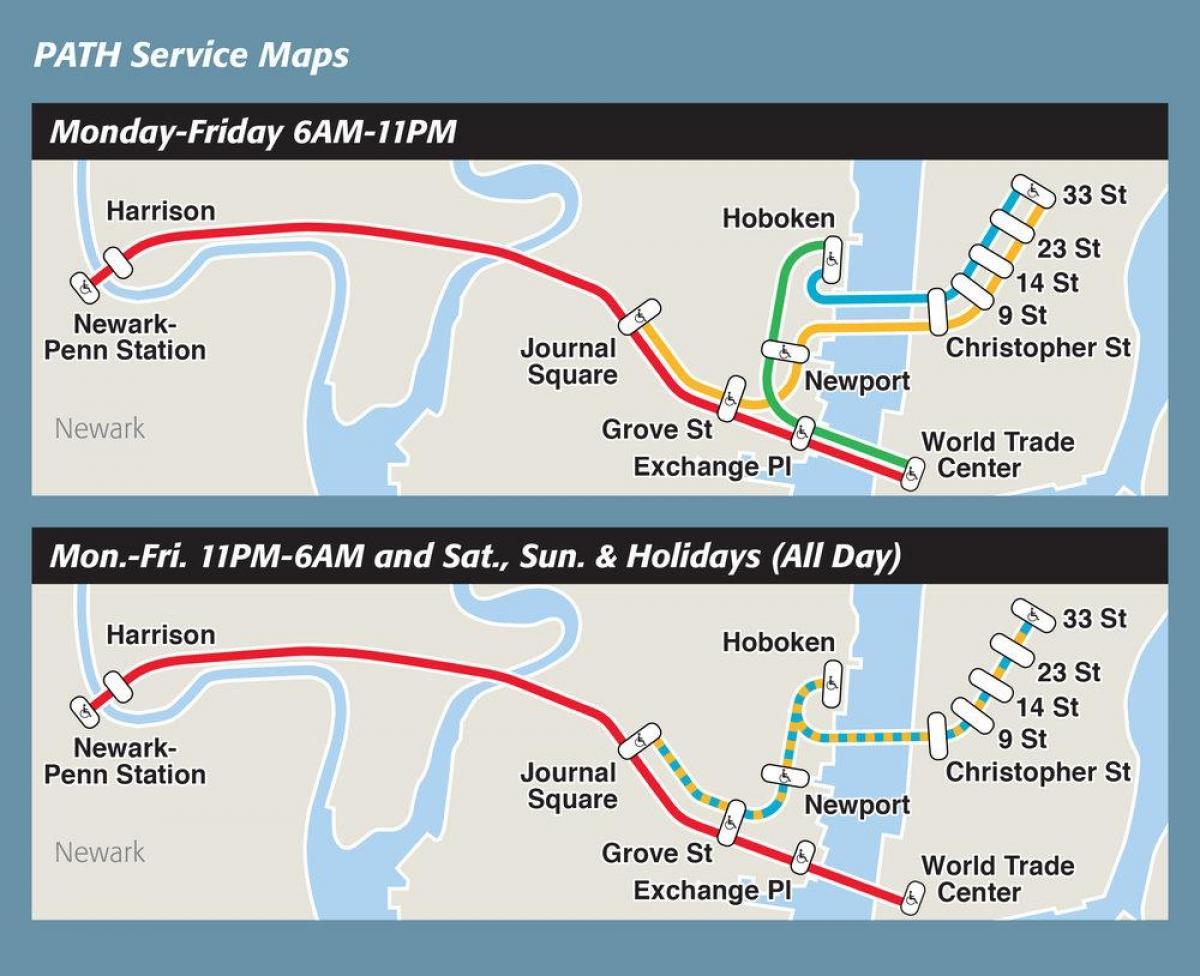 Path train map - NYC path train map (New York - USA)