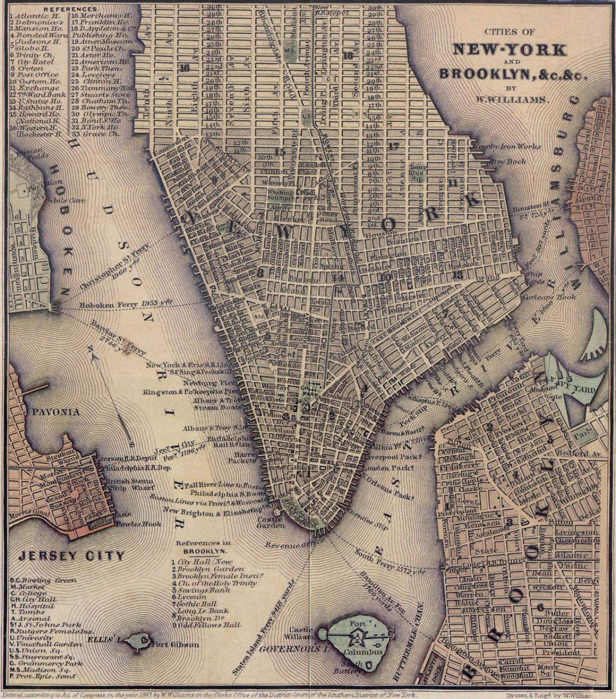 Vintage NYC Map Vintage New York Map New York USA - Vintage sf map